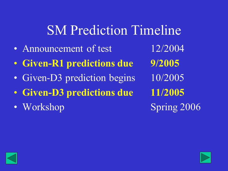 SM Prediction Timeline Announcement of test12/2004 Given-R1 predictions due9/2005 Given-D3 prediction begins 10/2005 Given-D3 predictions due11/2005 W