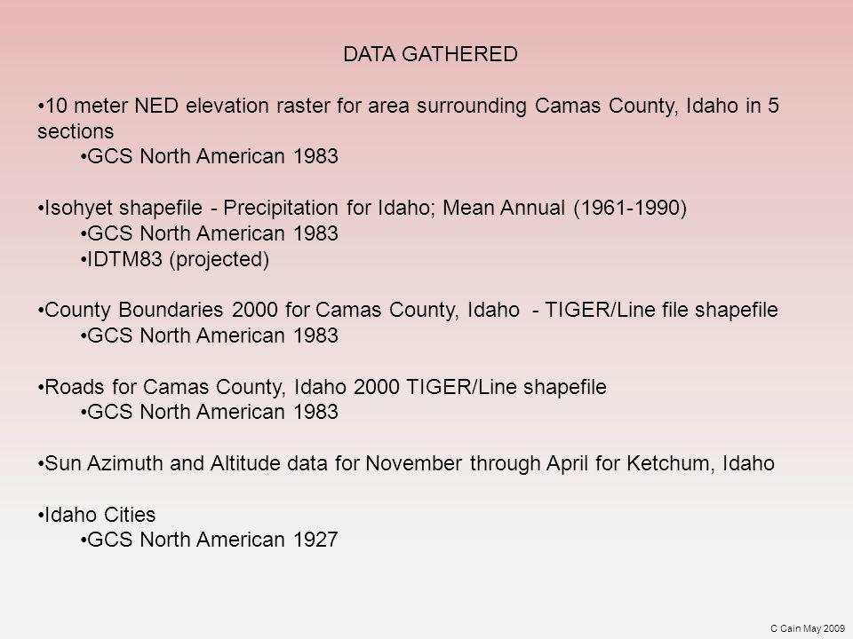 The elevation rasters were combined using mosaic tool and projected into NAD 1983 UTM zone 11N Raster data was extracted by mask to county environs Idaho Cities Required datum transformation from NAD 1927 into NAD1983 before projecting All other spatial data was projected into NAD 1983 UTM zone 11N and clipped to county environs PROJECTION C Cain May 2009