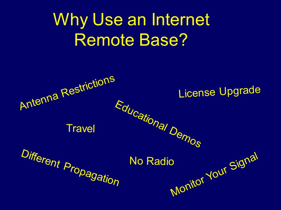 Why Use an Internet Remote Base? Antenna Restrictions Educational Demos Travel Different Propagation Monitor Your Signal License Upgrade No Radio