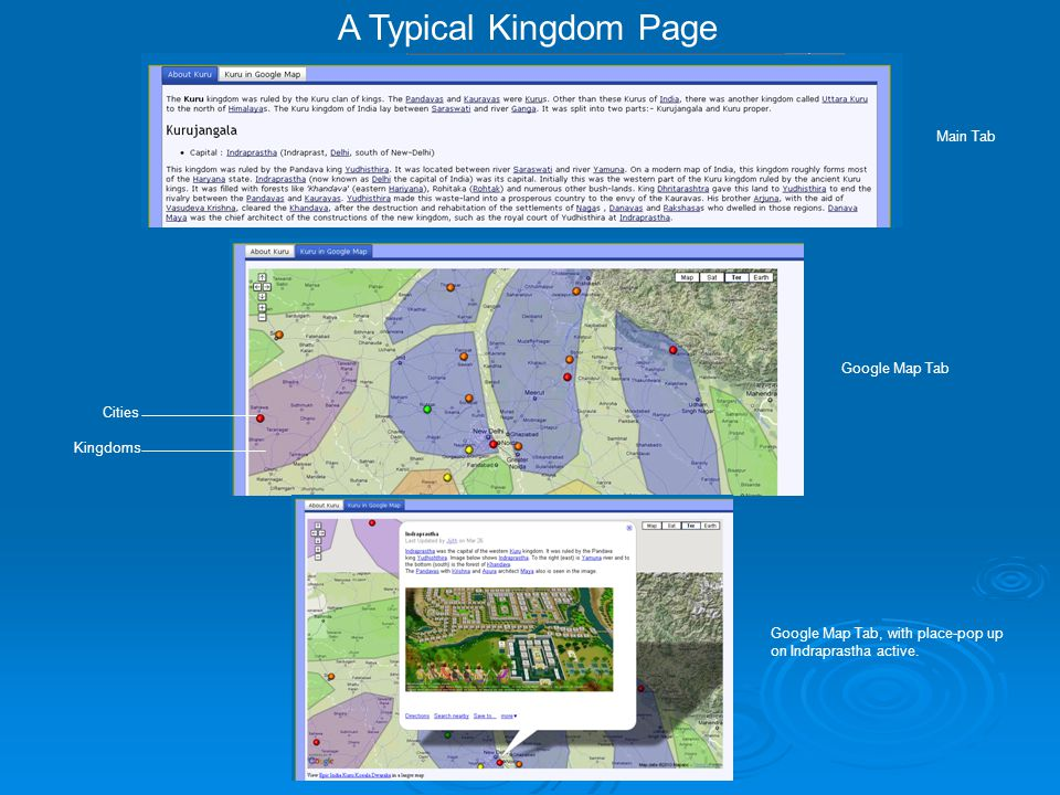 A Typical Kingdom Page Main Tab Google Map Tab Google Map Tab, with place-pop up on Indraprastha active.