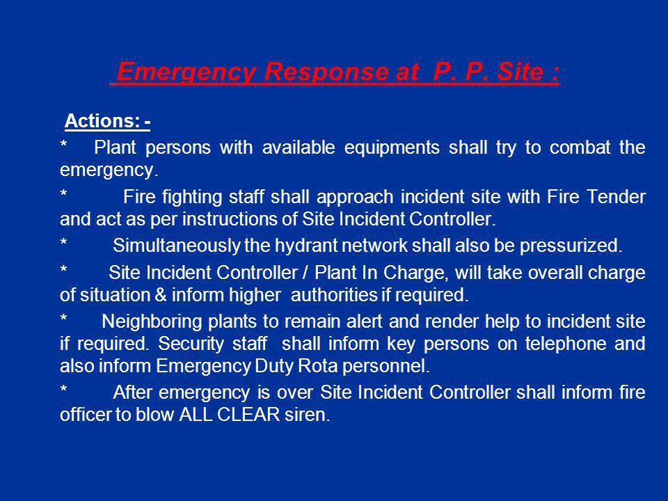 Emergency Response at P. P.