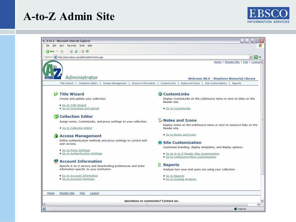A-to-Z Admin Site