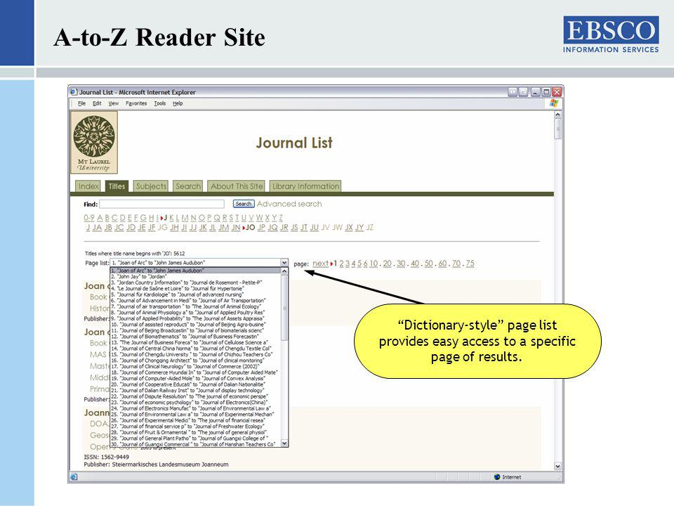 A-to-Z Reader Site Dictionary-style page list provides easy access to a specific page of results.