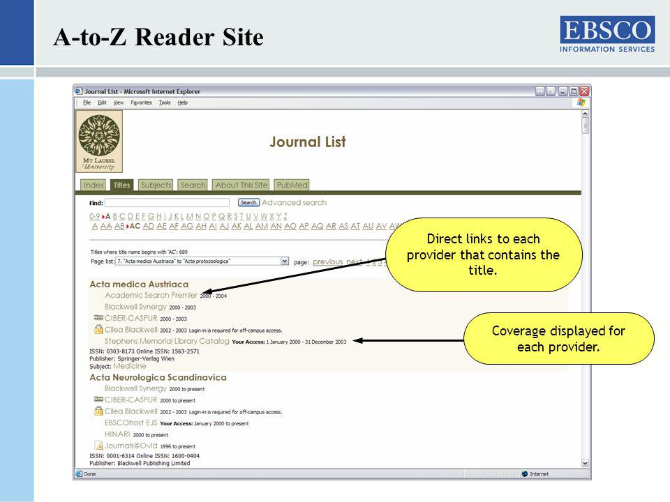 A-to-Z Reader Site Direct links to each provider that contains the title.