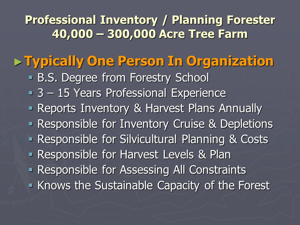 Professional Inventory / Planning Forester 40,000 – 300,000 Acre Tree Farm Typically One Person In Organization Typically One Person In Organization B.S.