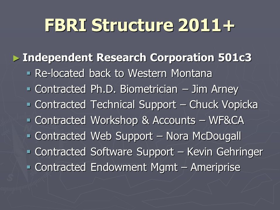 FBRI Structure 2011+ Independent Research Corporation 501c3 Independent Research Corporation 501c3 Re-located back to Western Montana Re-located back