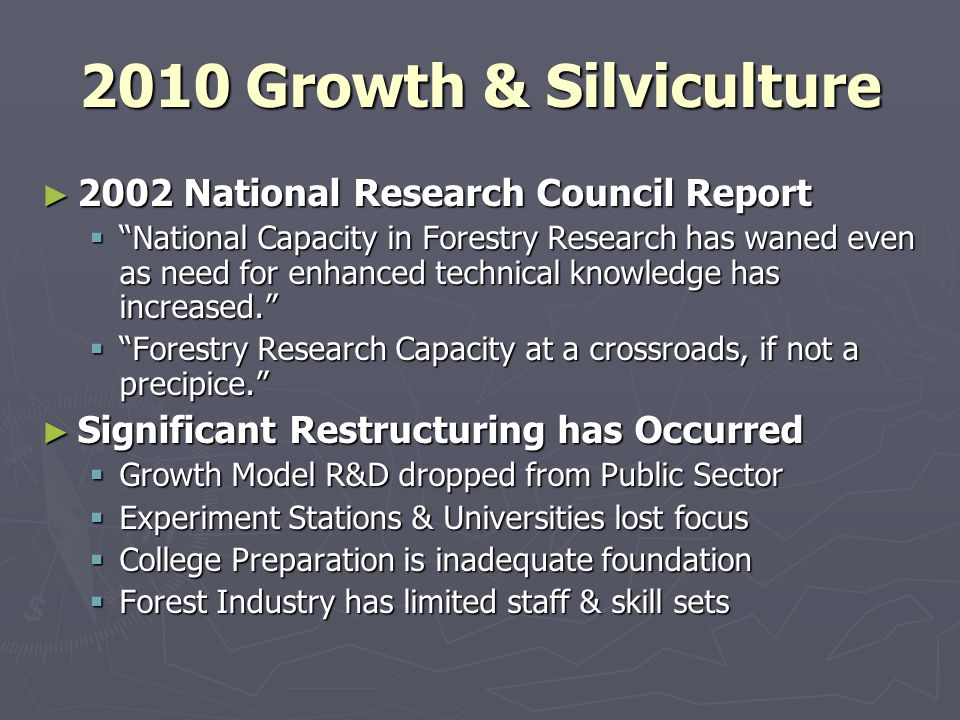 2010 Growth & Silviculture 2002 National Research Council Report 2002 National Research Council Report National Capacity in Forestry Research has waned even as need for enhanced technical knowledge has increased.