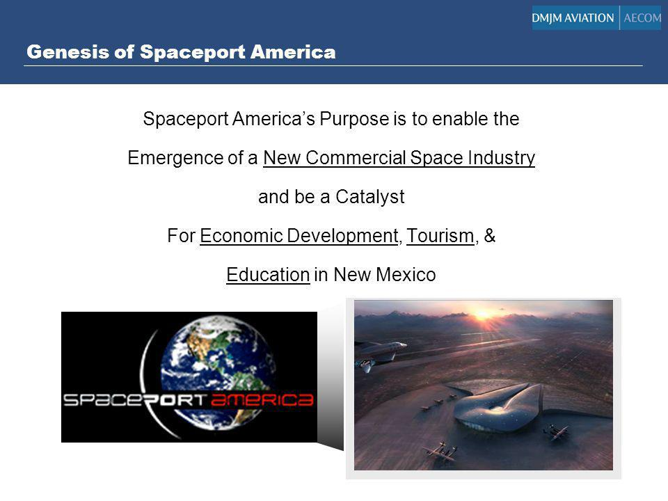 Genesis of Spaceport America Spaceport Americas Purpose is to enable the Emergence of a New Commercial Space Industry and be a Catalyst For Economic D
