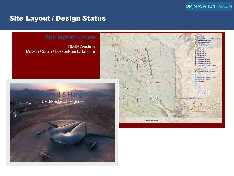 Site Layout / Design Status DMJM Aviation Molzen-Corbin / Dekker/Perich/Sabatini Design Status Site Layout – 100% complete Water, Power, Roads – 100%