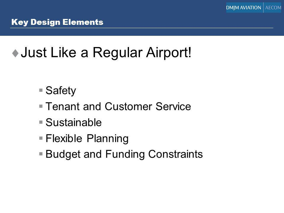 Key Design Elements Just Like a Regular Airport! Safety Tenant and Customer Service Sustainable Flexible Planning Budget and Funding Constraints