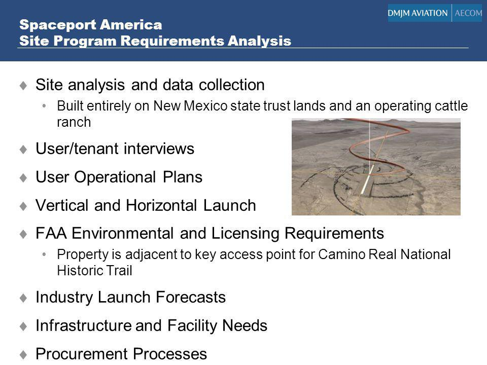 Spaceport America Site Program Requirements Analysis Site analysis and data collection Built entirely on New Mexico state trust lands and an operating