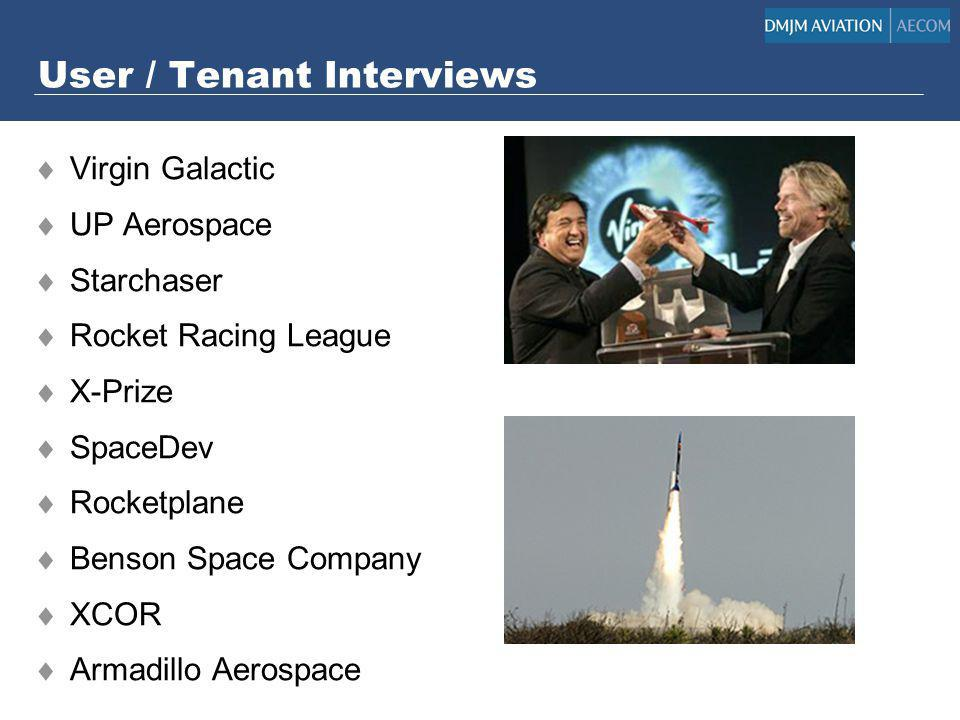 User / Tenant Interviews Virgin Galactic UP Aerospace Starchaser Rocket Racing League X-Prize SpaceDev Rocketplane Benson Space Company XCOR Armadillo