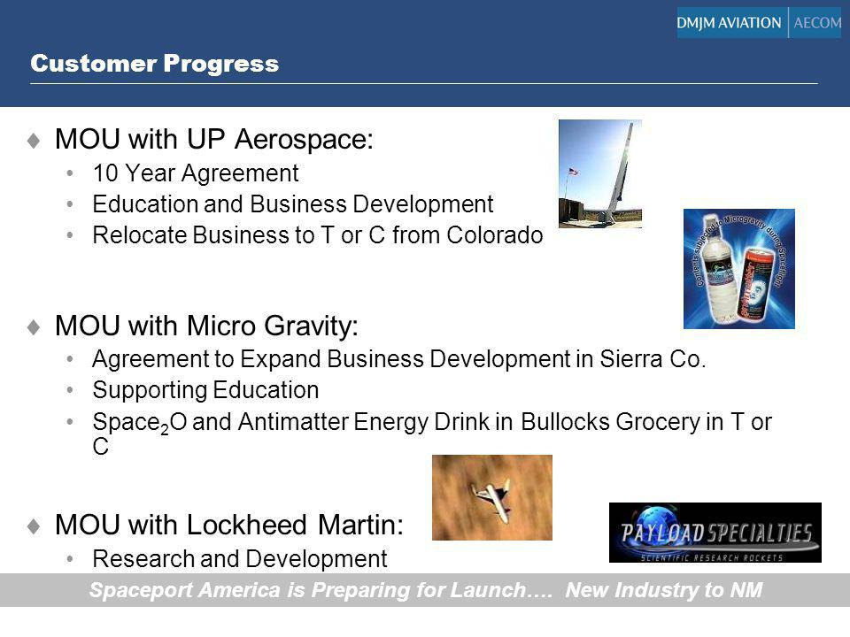 Customer Progress MOU with UP Aerospace: 10 Year Agreement Education and Business Development Relocate Business to T or C from Colorado MOU with Micro