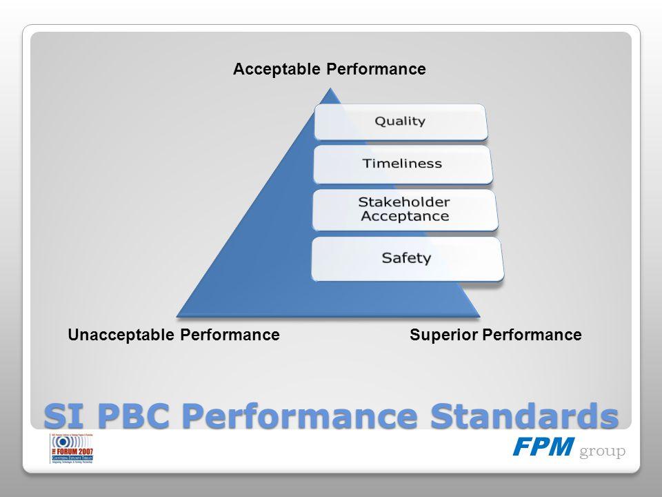 FPM group SI PBC Performance Standards Unacceptable PerformanceSuperior Performance Acceptable Performance