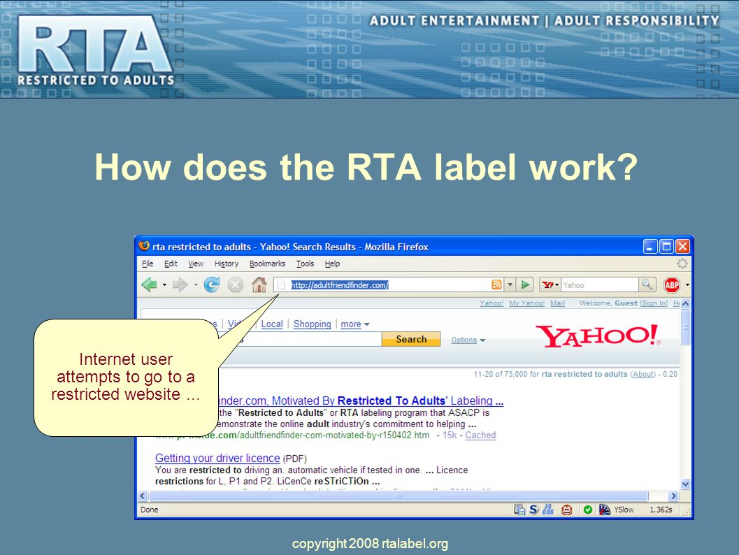 How does the RTA label work. Internet user attempts to go to a restricted website...