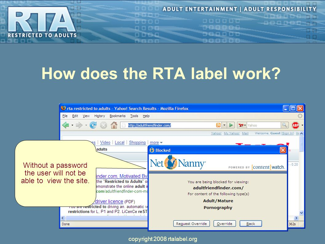 How does the RTA label work. Without a password the user will not be able to view the site.