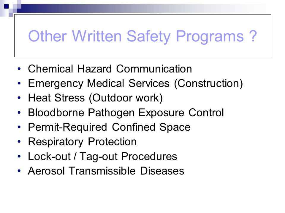 Other Written Safety Programs .