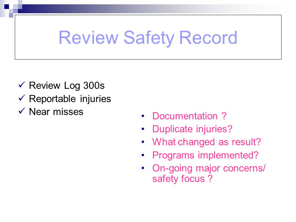 Review Safety Record Review Log 300s Reportable injuries Near misses Documentation ? Duplicate injuries? What changed as result? Programs implemented?