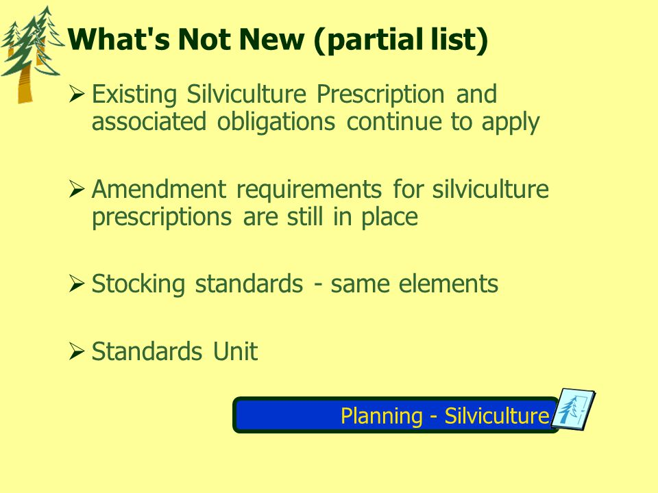 Planning - Silviculture What s Not New (partial list) Existing Silviculture Prescription and associated obligations continue to apply Amendment requirements for silviculture prescriptions are still in place Stocking standards - same elements Standards Unit