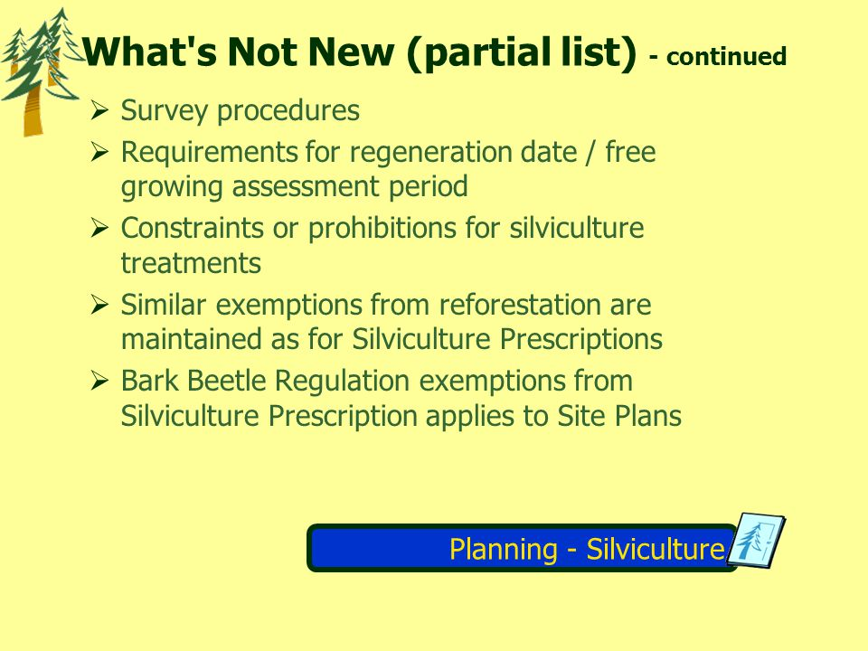 Planning - Silviculture Applicable Performance Standards (APS) - TH&SP Reg.