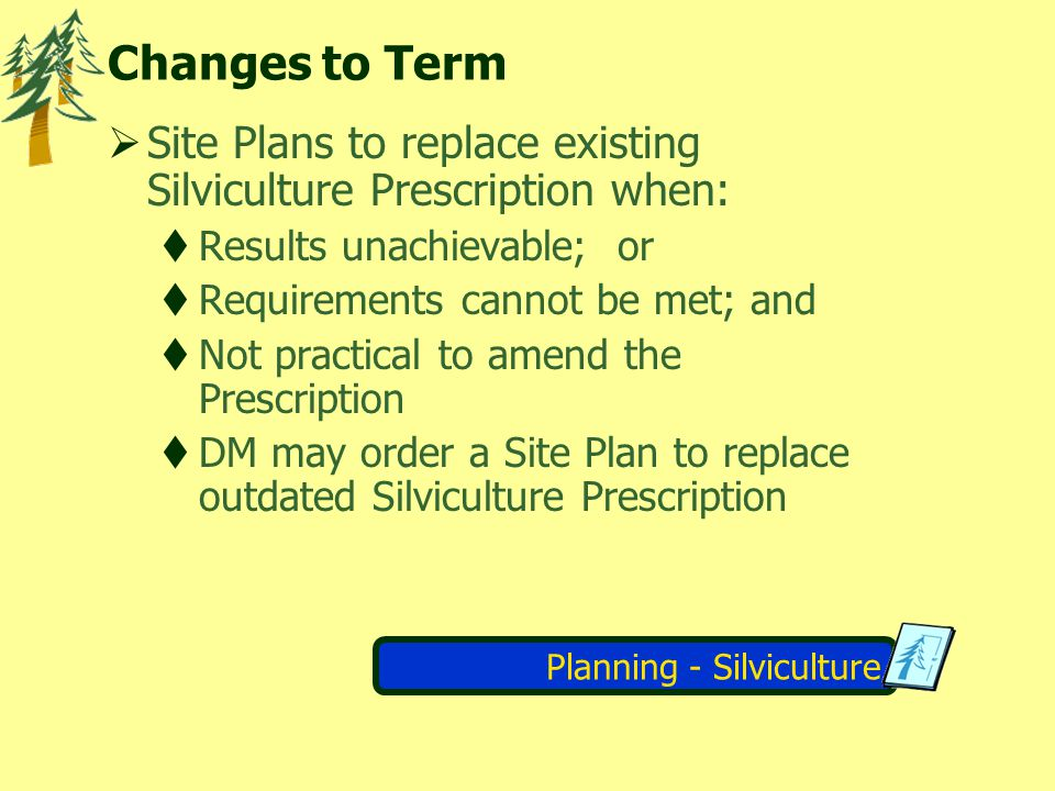 Planning - Silviculture Changes to Term Site Plans to replace existing Silviculture Prescription when: Results unachievable; or Requirements cannot be met; and Not practical to amend the Prescription DM may order a Site Plan to replace outdated Silviculture Prescription