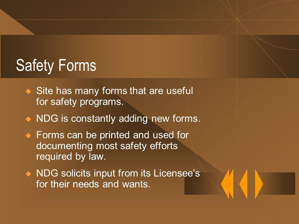 Safety Forms Site has many forms that are useful for safety programs.