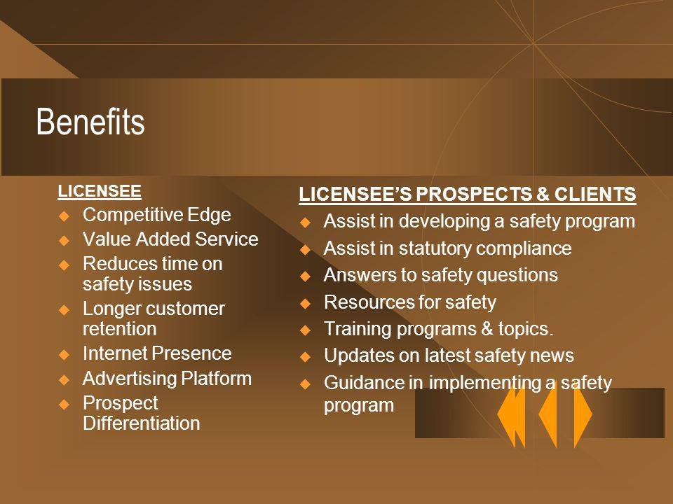 Benefits LICENSEE Competitive Edge Value Added Service Reduces time on safety issues Longer customer retention Internet Presence Advertising Platform Prospect Differentiation LICENSEES PROSPECTS & CLIENTS Assist in developing a safety program Assist in statutory compliance Answers to safety questions Resources for safety Training programs & topics.