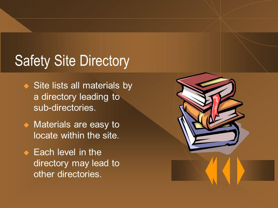 Safety Site Directory Site lists all materials by a directory leading to sub-directories.