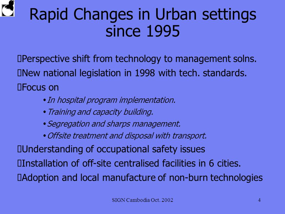 SIGN Cambodia Oct. 20024 Rapid Changes in Urban settings since 1995 Perspective shift from technology to management solns. New national legislation in