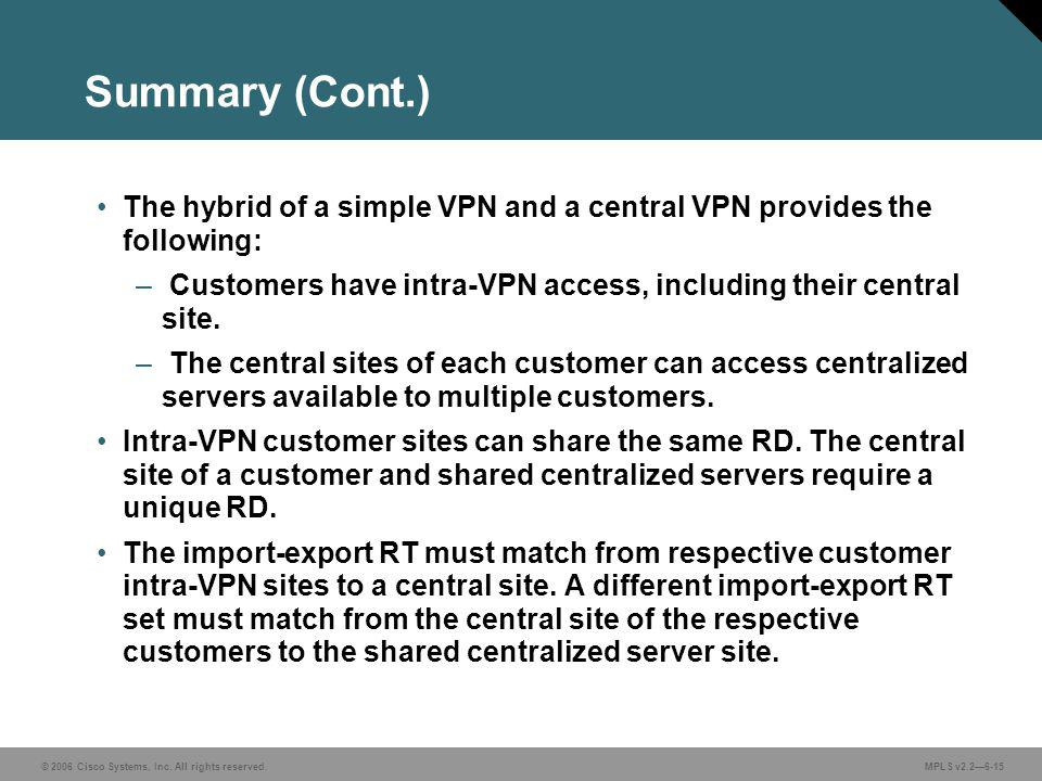 © 2006 Cisco Systems, Inc. All rights reserved. MPLS v2.26-15 Summary (Cont.) The hybrid of a simple VPN and a central VPN provides the following: – C
