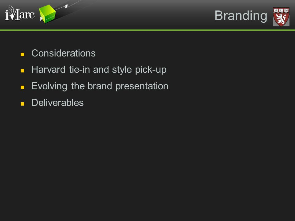 Branding Considerations Harvard tie-in and style pick-up Evolving the brand presentation Deliverables