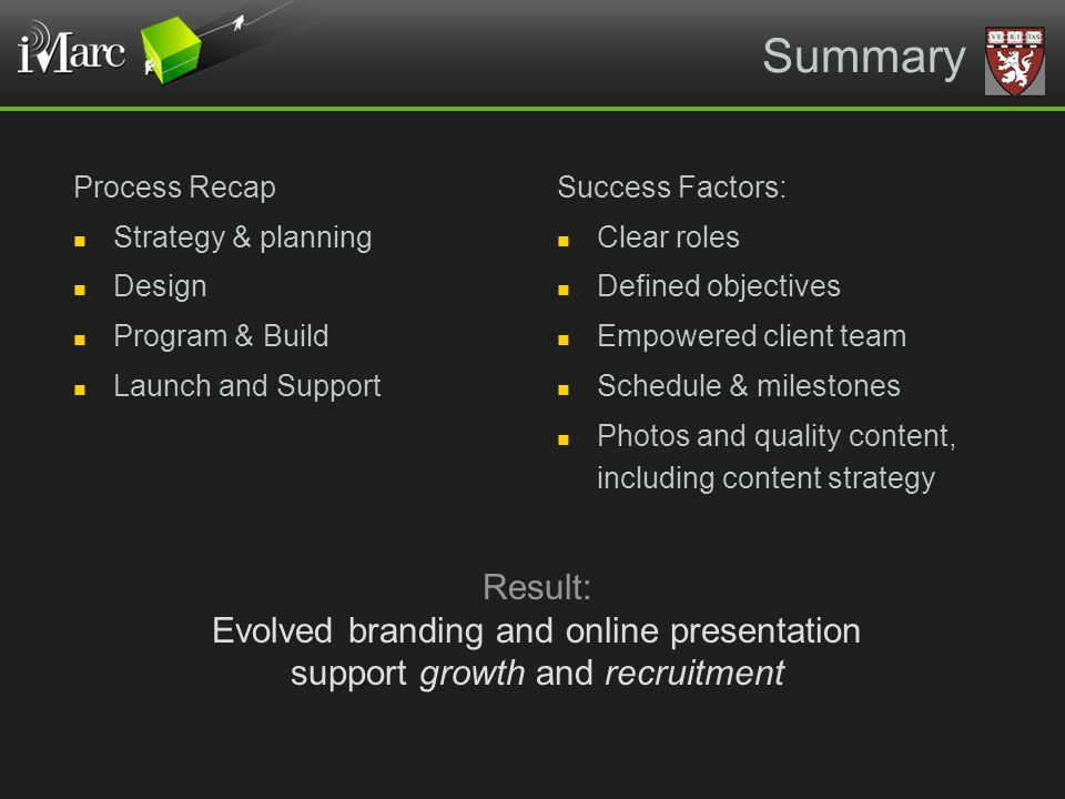 Summary Process Recap Strategy & planning Design Program & Build Launch and Support Success Factors: Clear roles Defined objectives Empowered client t