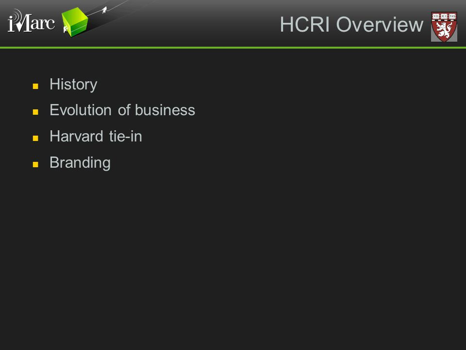 HCRI Overview History Evolution of business Harvard tie-in Branding
