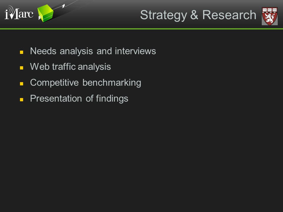 Strategy & Research Needs analysis and interviews Web traffic analysis Competitive benchmarking Presentation of findings