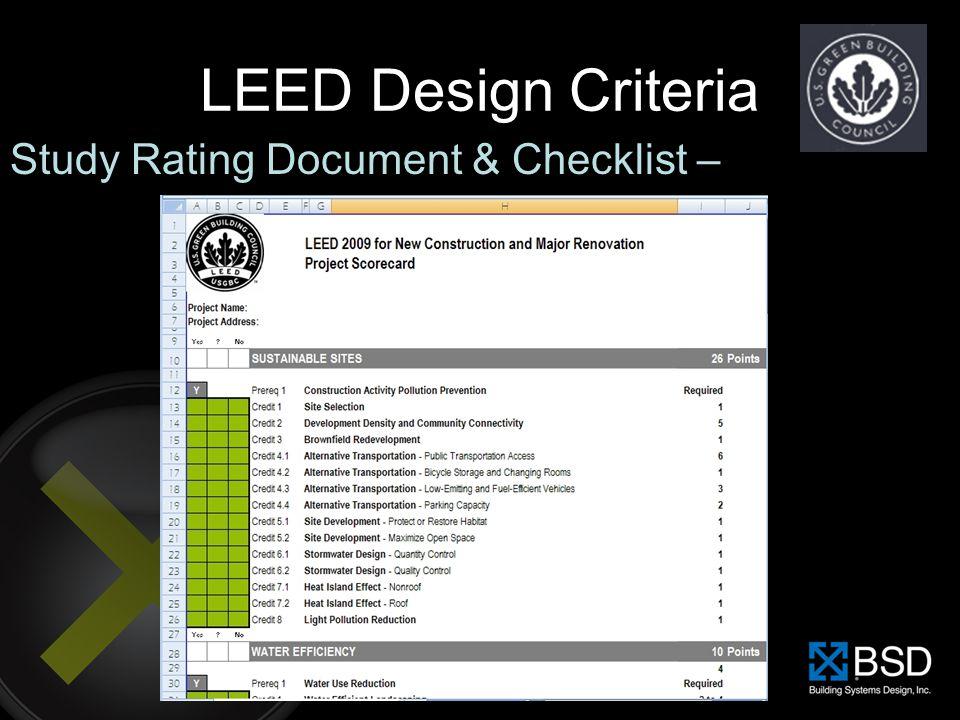 LEED Design Criteria Study Rating Document & Checklist –