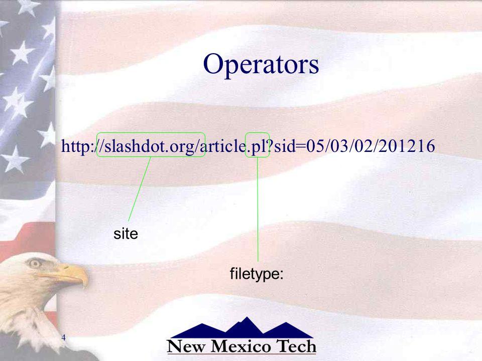 4 Operators http://slashdot.org/article.pl?sid=05/03/02/201216 site: filetype: