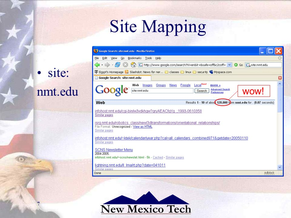 7 Site Mapping site: nmt.edu !! wow!