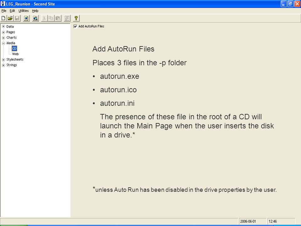 Add AutoRun Files Places 3 files in the -p folder autorun.exe autorun.ico autorun.ini The presence of these file in the root of a CD will launch the Main Page when the user inserts the disk in a drive.* * unless Auto Run has been disabled in the drive properties by the user.