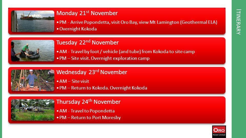 I TINERARY Monday 21 st November PM - Arrive Popondetta, visit Oro Bay, view Mt Lamington (Geothermal ELA) Overnight Kokoda Tuesday 22 nd November AM