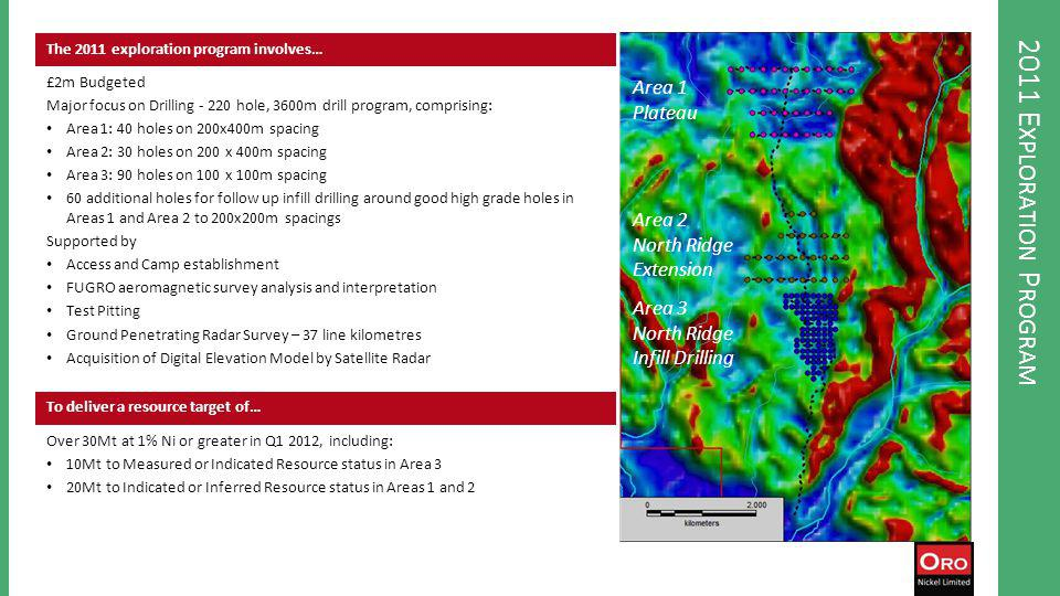 2011 E XPLORATION P ROGRAM The 2011 exploration program involves… £2m Budgeted Major focus on Drilling - 220 hole, 3600m drill program, comprising: Area 1: 40 holes on 200x400m spacing Area 2: 30 holes on 200 x 400m spacing Area 3: 90 holes on 100 x 100m spacing 60 additional holes for follow up infill drilling around good high grade holes in Areas 1 and Area 2 to 200x200m spacings Supported by Access and Camp establishment FUGRO aeromagnetic survey analysis and interpretation Test Pitting Ground Penetrating Radar Survey – 37 line kilometres Acquisition of Digital Elevation Model by Satellite Radar To deliver a resource target of… Over 30Mt at 1% Ni or greater in Q1 2012, including: 10Mt to Measured or Indicated Resource status in Area 3 20Mt to Indicated or Inferred Resource status in Areas 1 and 2 Area 1 Plateau Area 2 North Ridge Extension Area 3 North Ridge Infill Drilling