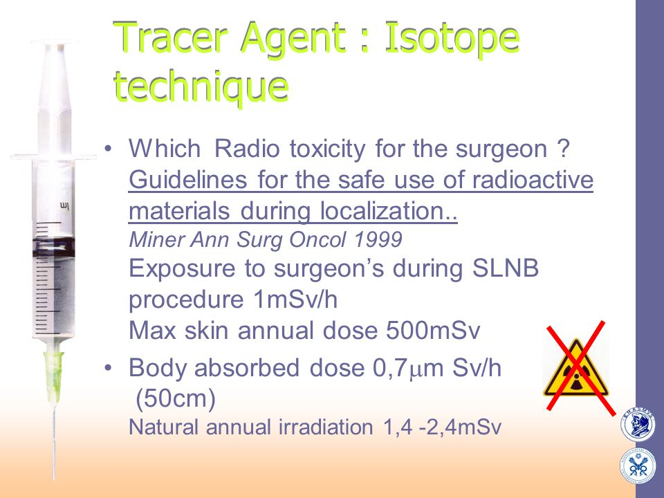 Tracer Agent : Isotope technique Which Radio toxicity for the surgeon ? Guidelines for the safe use of radioactive materials during localization.. Min