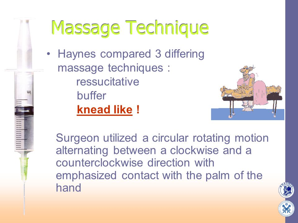 Massage Technique Haynes compared 3 differing massage techniques : ressucitative buffer knead like ! Surgeon utilized a circular rotating motion alter