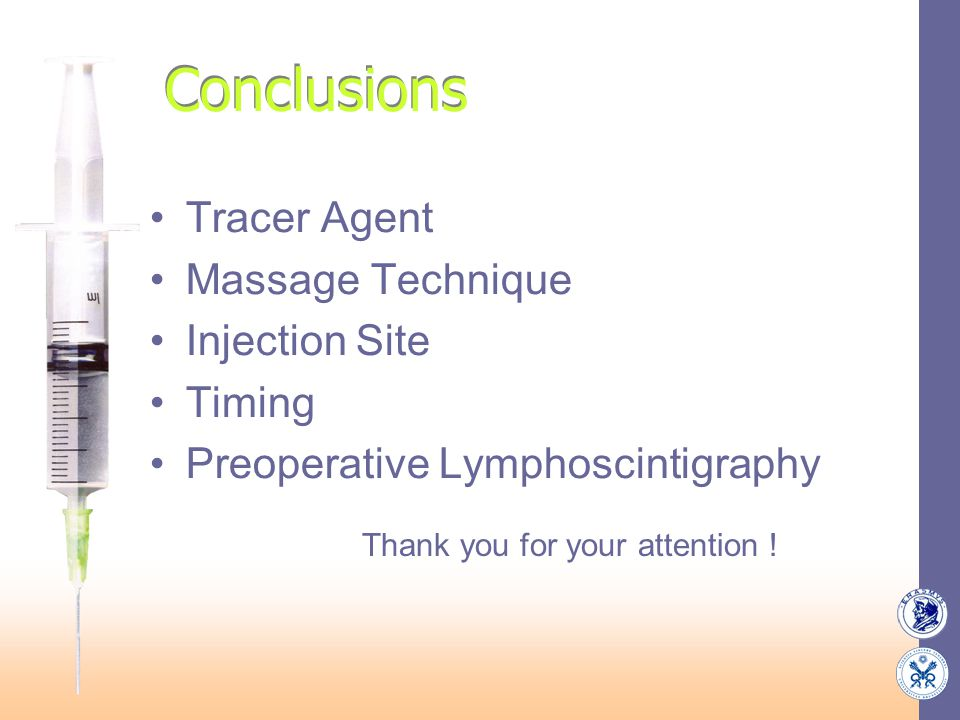 Conclusions Tracer Agent Massage Technique Injection Site Timing Preoperative Lymphoscintigraphy Thank you for your attention !
