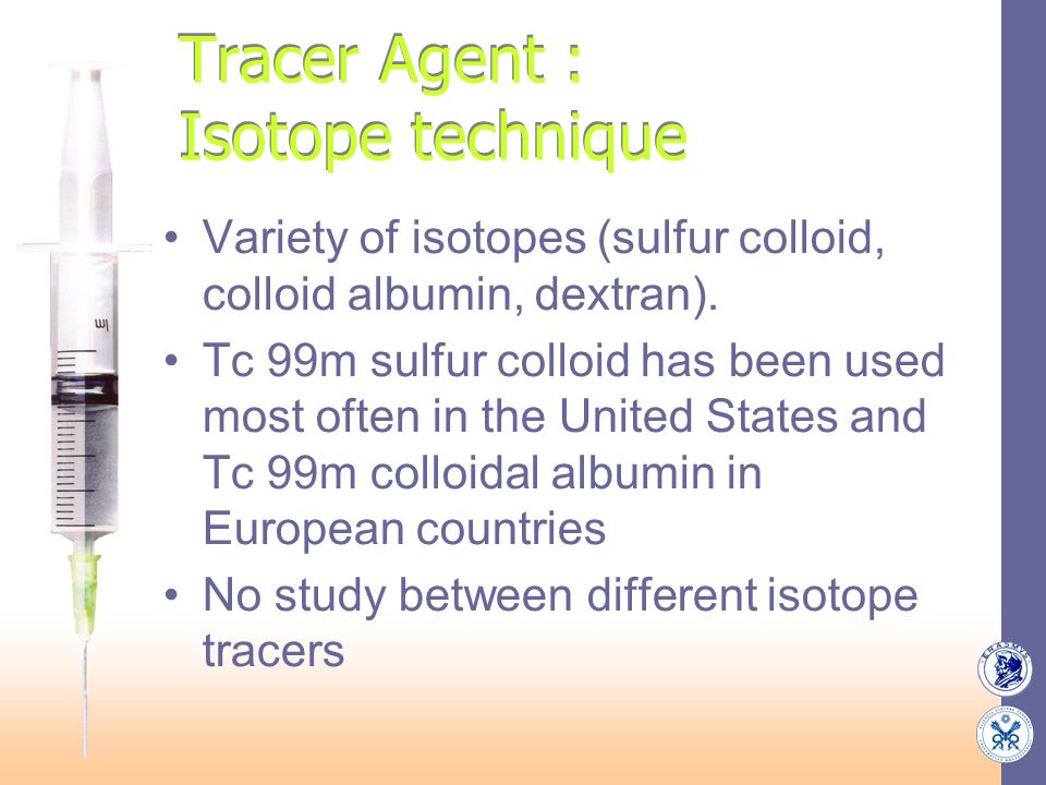 Tracer Agent : Isotope technique Variety of isotopes (sulfur colloid, colloid albumin, dextran). Tc 99m sulfur colloid has been used most often in the