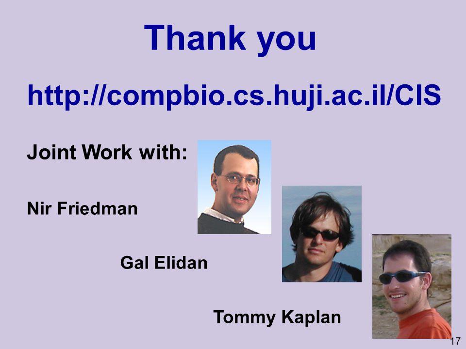 17 Thank you http://compbio.cs.huji.ac.il/CIS Joint Work with: Nir Friedman Gal Elidan Tommy Kaplan