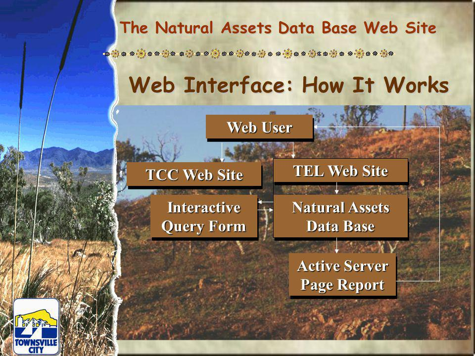 The Natural Assets Data Base Web Site Web Interface: How It Works Interactive Query Form Active Server Page Report TEL Web Site Natural Assets Data Base TCC Web Site Web User