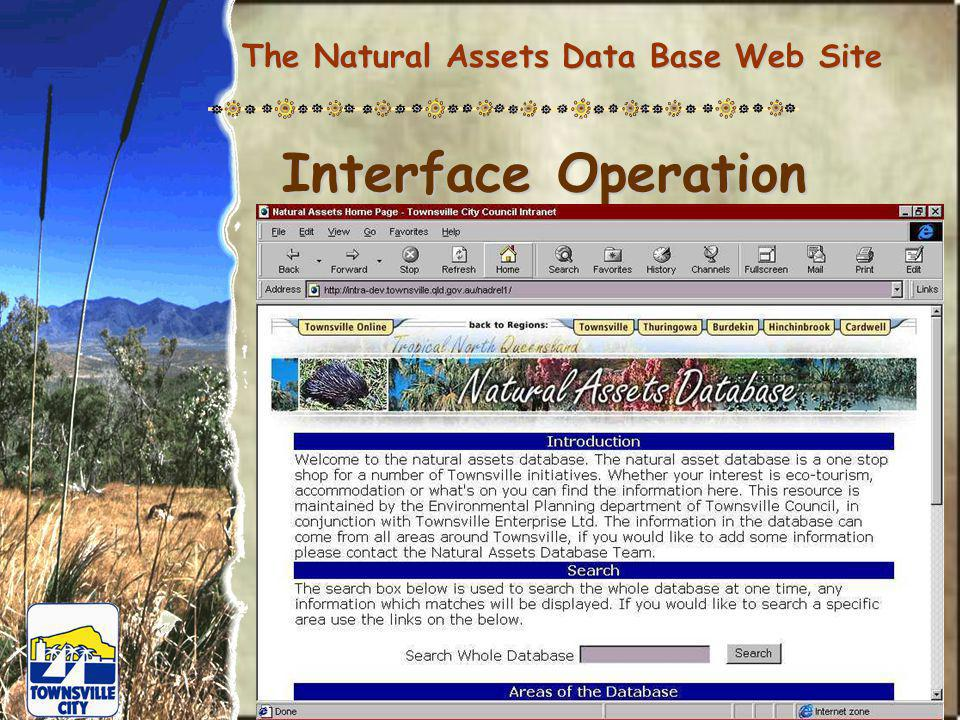The Natural Assets Data Base Web Site Interface Operation
