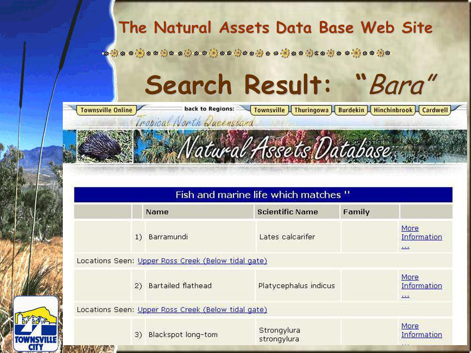 The Natural Assets Data Base Web Site Search Result: Bara