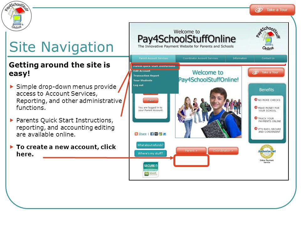 Site Navigation Getting around the site is easy! Simple drop-down menus provide access to Account Services, Reporting, and other administrative functi