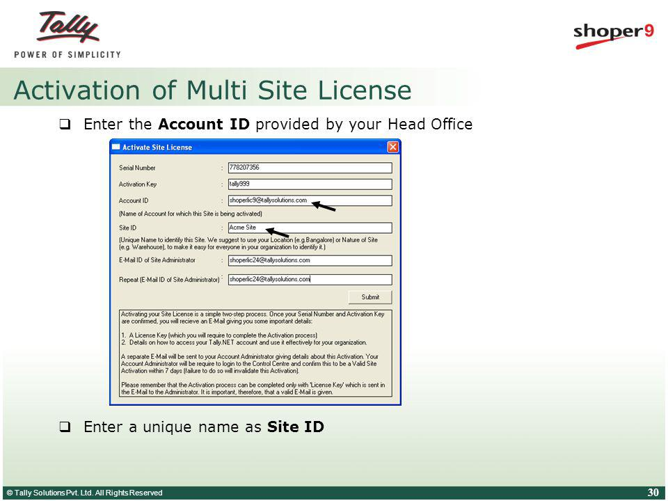 © Tally Solutions Pvt. Ltd. All Rights Reserved 30 Activation of Multi Site License Enter the Account ID provided by your Head Office Enter a unique n